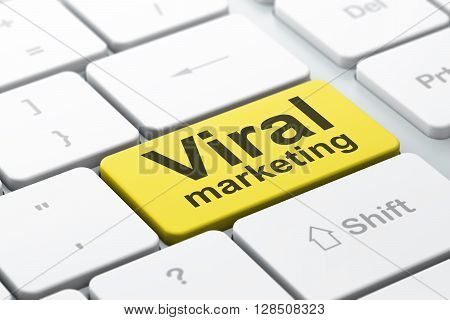 Marketing concept: computer keyboard with word Viral Marketing, selected focus on enter button background, 3D rendering