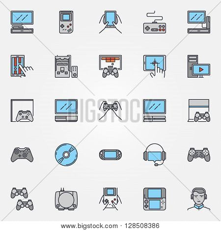 Console gaming icons - vector set of colorful flat game devices symbols or signs. Concept game pictograms
