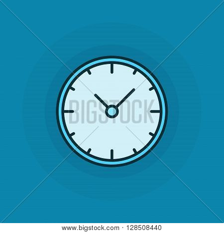 Flat clock vector icon. Clock or time concept design illustration