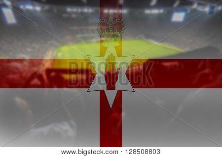 close up on stadium with blending Northen Ireland flag