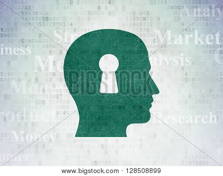 Marketing concept: Painted green Head With Keyhole icon on Digital Data Paper background with  Tag Cloud