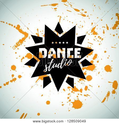 Vector dance studio logo. Dance vintage flat icon. Dance floor logo. Stamp. Paint drops splattered. Modern dance school label. Ballet. Pole dance. Ball room dance. Dance school insignia. Grunge style.