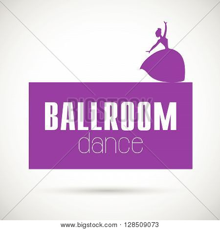 Vector dance studio logo. Dance floor insignia, poster, banner icon. Dancing girl icon. Human icon. Human figure. Dancing lady. Balerine silhouette. Ballet. Ball room dance. Dance school insignia.