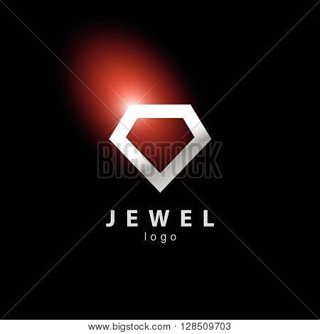 Vector flat jewelry logo isolated on black background. Diamond shop, crystal store brand mark. Accessory store, jewel business insignia. Advertisement design. Poster, placard, card, leaflet.