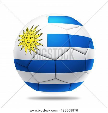 3D soccer ball with Uruguay team flag isolated on white