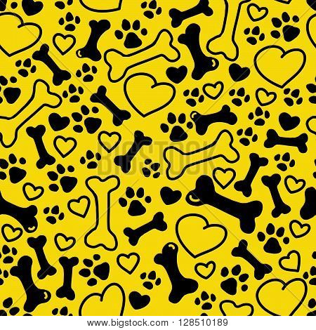 Vector seamless flat hand drawn dog pattern with bones, hearts, paw trace different sizes isolated on yellow background. Packaging paper design, pet food accessories package.