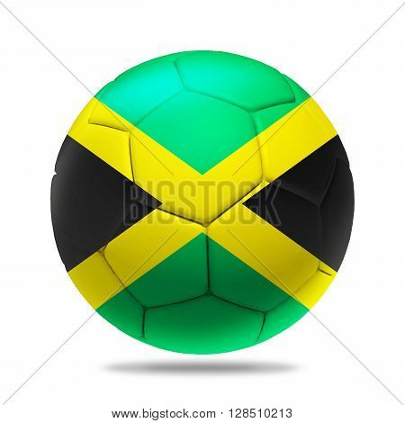3D Illustration soccer ball with Jamaica team flag, isolated on white