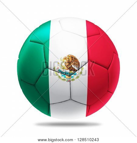 3D Illustration soccer ball with Mexico team flag, isolated on white