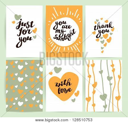 Vector flat holiday hand drawn creative cards. Love card, congratulation. Hand drawn patter, hand written font.