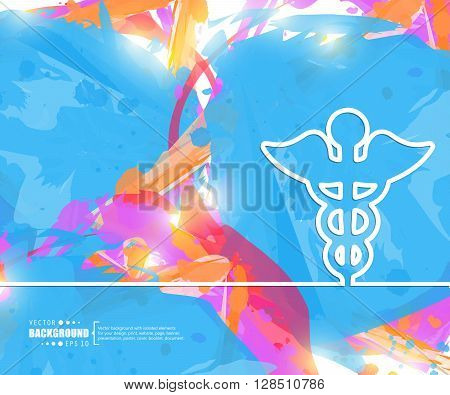 Creative vector caduceus. Art illustration template background. For presentation, layout, brochure, logo, page, print, banner, poster, cover, booklet, business infographic, wallpaper, sign, flyer.
