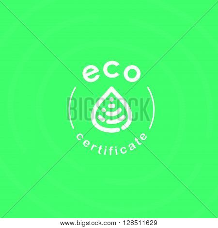 Vector flat eco product emblem. Ecological cosmetic sign. Eco badge. Finger stamp. Natural product line. Nature certificate quality. Leaf, drop icon. Eco symbol. Natural cosmetics. Eco friendly logo. Bio organic product.