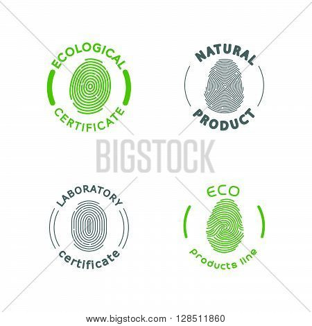 Vector flat eco product emblem. Ecological cosmetic sign. Eco badge. Finger stamp. Natural product line. Nature certificate quality. Eco symbol. Natural cosmetics. Eco friendly logo. Bio organic product.