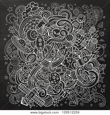 Cartoon hand-drawn doodles Space illustration. Chalkboard detailed, with lots of objects vector background
