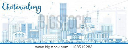 Outline Ekaterinburg Skyline with Blue Buildings. Business Travel and Tourism Concept with Modern Buildings. Image for Presentation Banner Placard and Web Site.