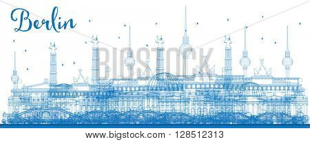 Outline Berlin skyline with blue buildings. Business and tourism concept with place for text. Image for presentation, banner, placard and web site