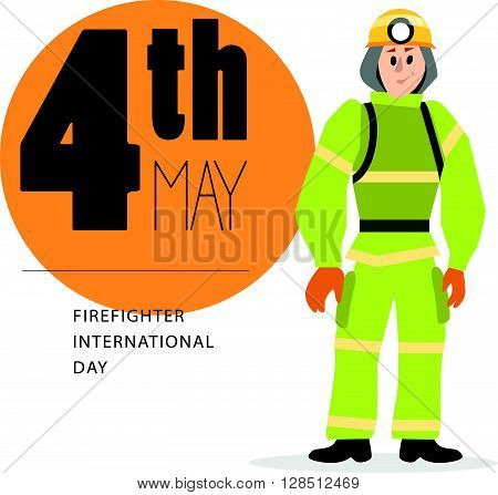 Vector flat simple friendly character isolated. Text message. Profession human icon. Person portrait. Firefighter portrait.