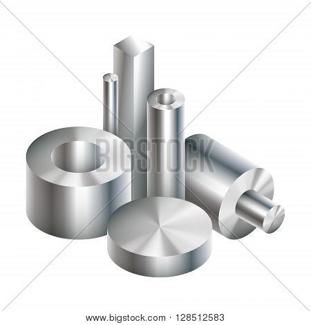 Group metal steel objects forging. Vector illustration. EPS 10.