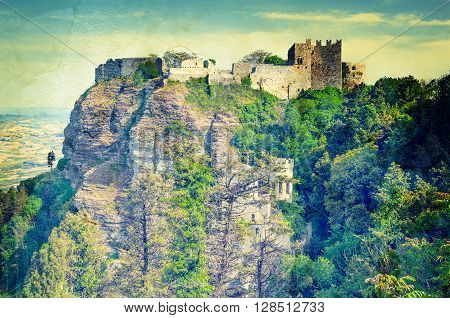 View of the ancient fortresses of Erice town in vintage style. Sicily. Italy.