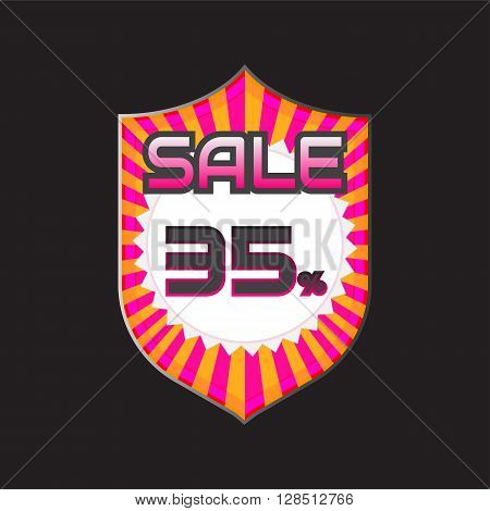 Sale discount labels. Special offer price signs. 35 percent off reduction symbol.