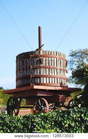 Wooden old Wine press in Volnay village in the Cote de Beaune Burgundy France