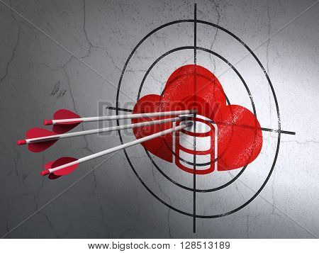 Success cloud networking concept: arrows hitting the center of Red Database With Cloud target on wall background, 3D rendering