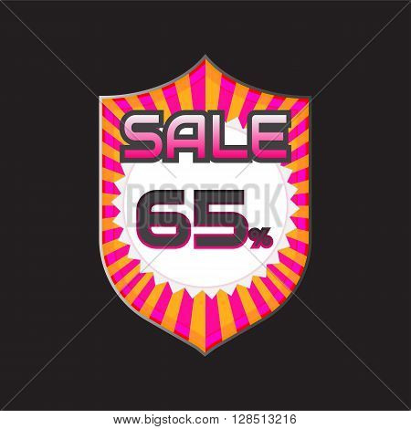 Sale discount labels. Special offer price signs. 65 percent off reduction symbol.