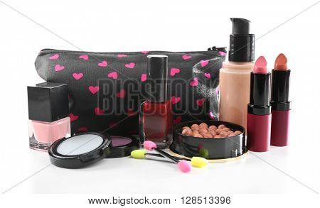Makeup set with beautician and cosmetics, isolated on white