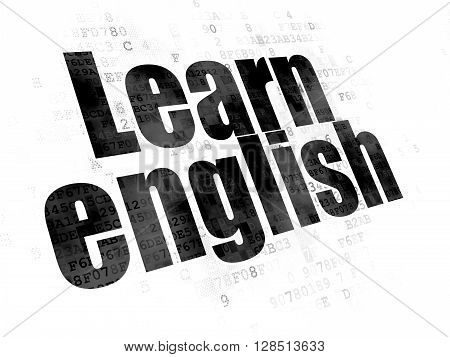 Studying concept: Pixelated black text Learn English on Digital background