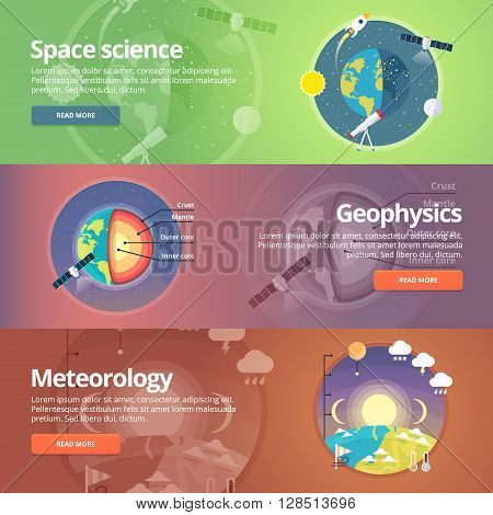 Science of Earth. Exploration of space. Geophysics. Meteorology. Atmospheric phenomena. Natural science. Education and science banners set. Vector design concept.