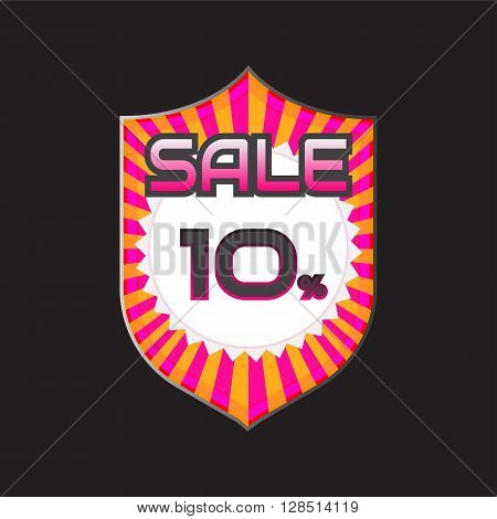 Sale discount labels. Special offer price signs. 10 percent off reduction symbol.