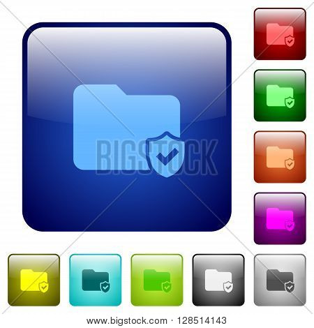 Set of color protected folder glass web buttons.
