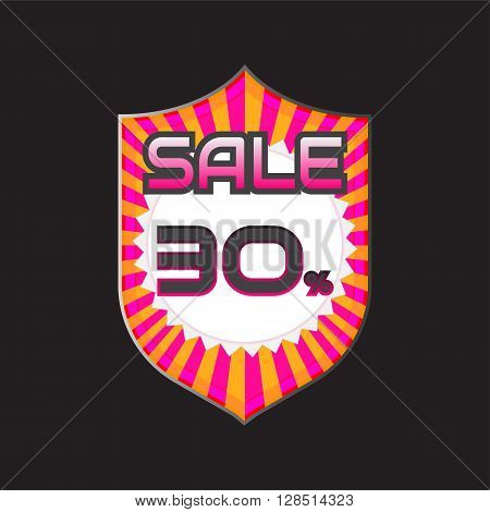 Sale discount labels. Special offer price signs. 30 percent off reduction symbol.