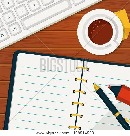 Vector workplace background in flat style. Notebook with space for your text. Top view of blank notebook cup of coffee and keyboard.