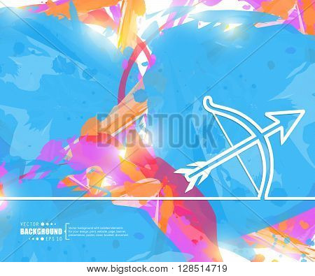Creative vector cupid bow. Art illustration template background. For presentation, layout, brochure, logo, page, print, banner, poster, cover, booklet, business infographic, wallpaper, sign, flyer.