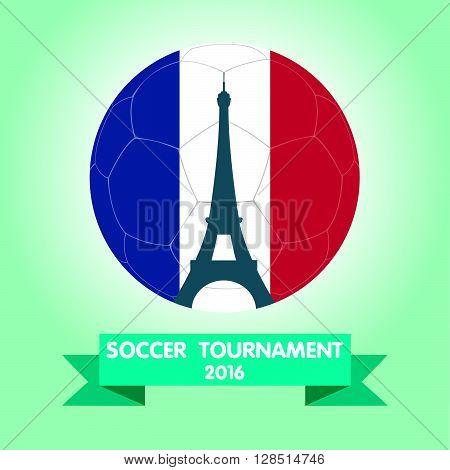 France Euro 2016 logos. Eiffel Tower Icon Design. vector