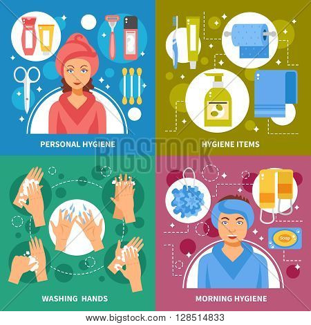 Personal morning hygiene items and hands washing steps 4 flat icons square banner abstract isolated vector illustration
