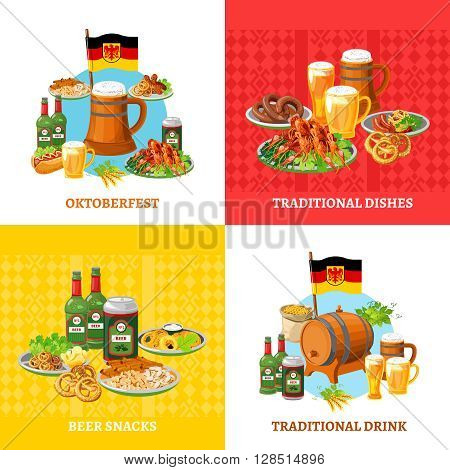 German traditional octoberfest festival 4 flat icons square composition banner with beer snacks abstract isolated vector illustration