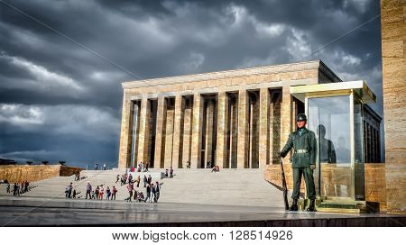 Ankara, Turkey, 25 October, 2012: Guardsman of Ataturk Mausoleum, Anitkabir, monumental tomb of Mustafa Kemal Ataturk, greatest leader,first president of Turkey in Ankara, Turkey