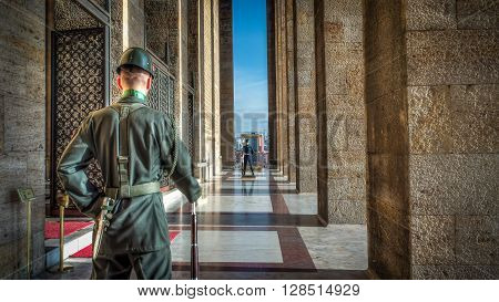 Ankara, Turkey, 25 October, 2012: 2 Guardsman standing at the door of Ataturk Mausoleum, Anitkabir, monumental tomb of Mustafa Kemal Ataturk, greatest leader,first president of Turkey in Ankara, Turkey