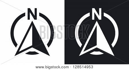 North direction compass icon vector. Two-tone version on black and white background
