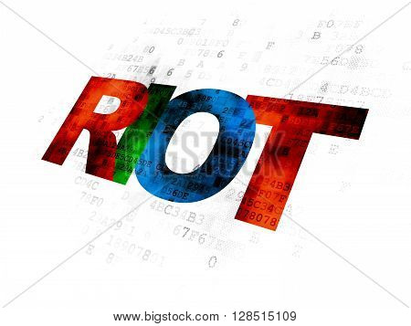 Political concept: Pixelated multicolor text Riot on Digital background