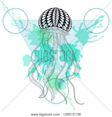 Zentangle stylized Jellyfish in triangle frame with watercolor ink drop. Hand Drawn doodle vector sea Jelly illustration. Sketch for tattoo or makhenda. Hipster artistically patterned animal print.