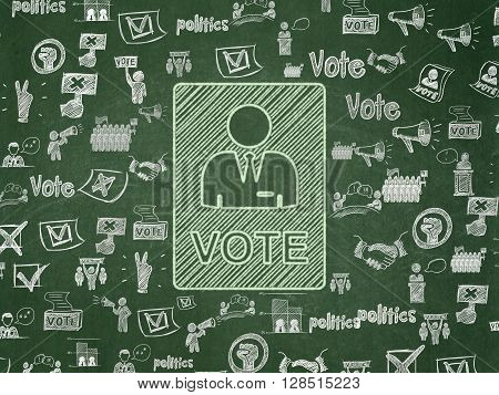 Politics concept: Chalk Green Ballot icon on School board background with  Hand Drawn Politics Icons, School Board