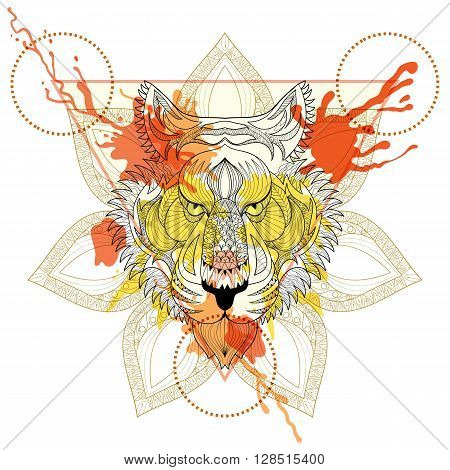 Zentangle stylized Tiger in triangle frame with watercolor ink drop. Hand Drawn doodle vector tiger face illustration. Sketch for tattoo or makhenda. Hipster artistically patterned animal print.