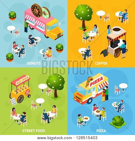 Street food trucks and carts selling donuts coffee and pizza 4 isometric icons square abstract isolated vector illustration