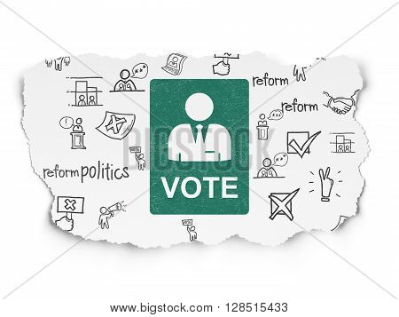 Politics concept: Painted green Ballot icon on Torn Paper background with  Hand Drawn Politics Icons