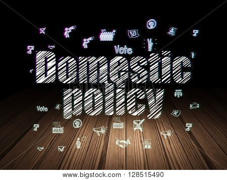 Politics concept: Glowing text Domestic Policy,  Hand Drawn Politics Icons in grunge dark room with Wooden Floor, black background