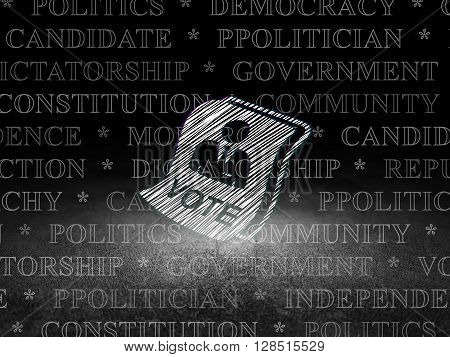 Political concept: Glowing Ballot icon in grunge dark room with Dirty Floor, black background with  Tag Cloud