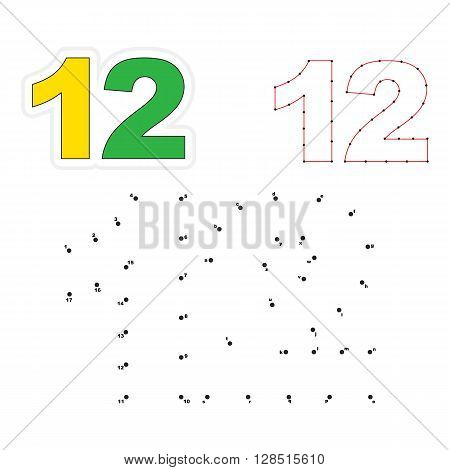 Twelve in vector to be traced by numbers. Join dots. Connect by numbers. Vector visual game for children.