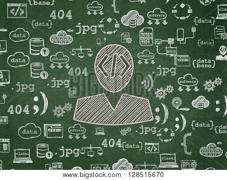 Database concept: Chalk Pink Programmer icon on School board background with  Hand Drawn Programming Icons, School Board